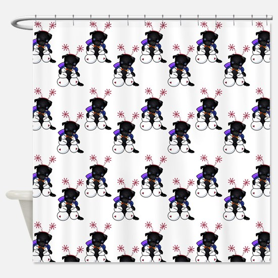 Pug and Snow Friends Shower Curtain