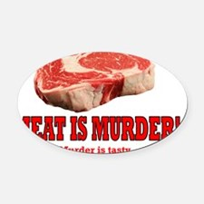 ART Meat is murder Oval Car Magnet