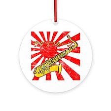 grunge japan sax Round Ornament