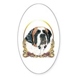 St Bernard Christmas/Holiday Oval Sticker