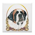 St Bernard Christmas/Holiday Tile Coaster