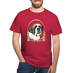 St Bernard Christmas/Holiday Dark T-Shirt