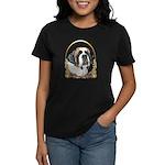 St Bernard Christmas/Holiday Women's Dark T-Shirt