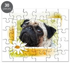 Pug with Daisies Puzzle
