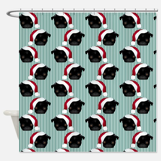 Black Pug Santa on Stripes Shower Curtain