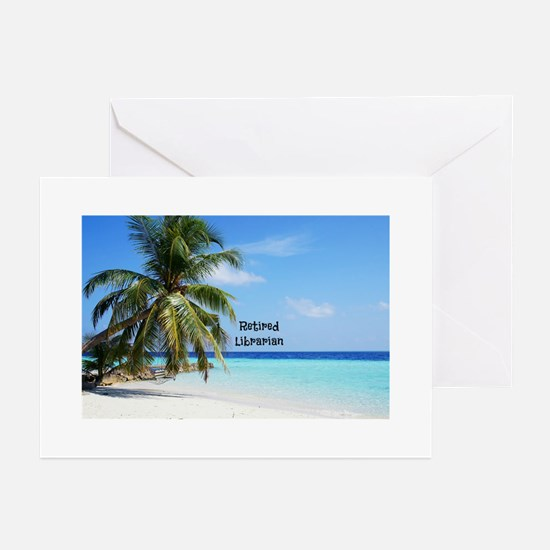 Retired Librarian, beach background Greeting Cards