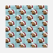 Christmas Pugs on Plaid Queen Duvet