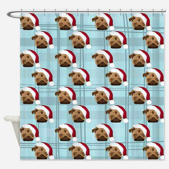 Christmas Pugs on Plaid Shower Curtain