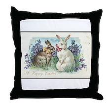 Vintage Easter Bunnies Throw Pillow