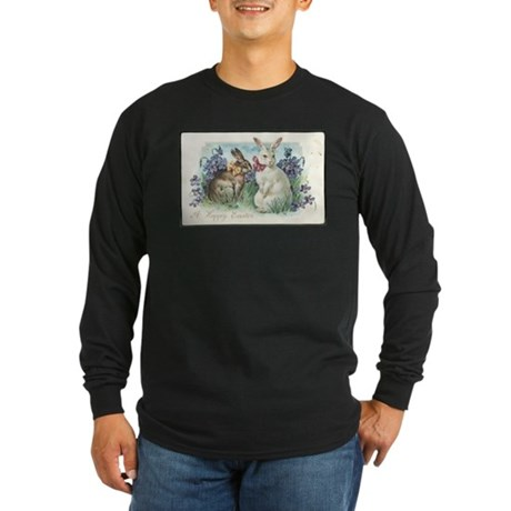 Vintage Easter Bunnies Long Sleeve Dark T-Shirt
