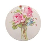 China painting pink roses Round Ornaments
