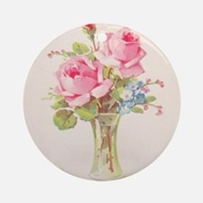 Pink roses in vase Ornament (Round)