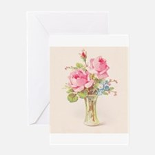 Pink roses in vase Greeting Cards