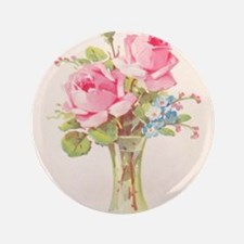 "Pink roses in vase 3.5"" Button (100 pack)"