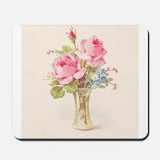 Pink roses in vase Mousepad