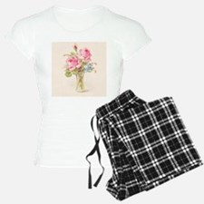 Pink roses in vase pajamas