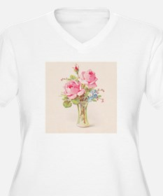 Pink roses in vase Plus Size T-Shirt