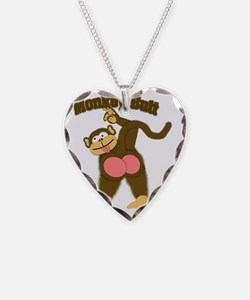 Monkey Butt 2 Necklace Heart Charm