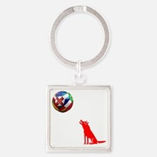 Howling At The Moon Square Keychain