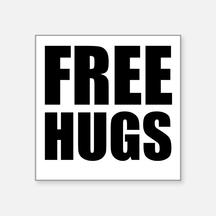 "Free Hugs W Square Sticker 3"" x 3"""