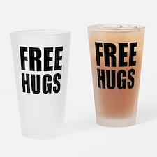 Free Hugs W Drinking Glass