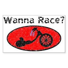 Wanna Race? Trike Rectangle Decal