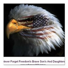 """2-eagle with text Square Car Magnet 3"""" x 3"""""""