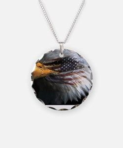 2-eagle with text Necklace