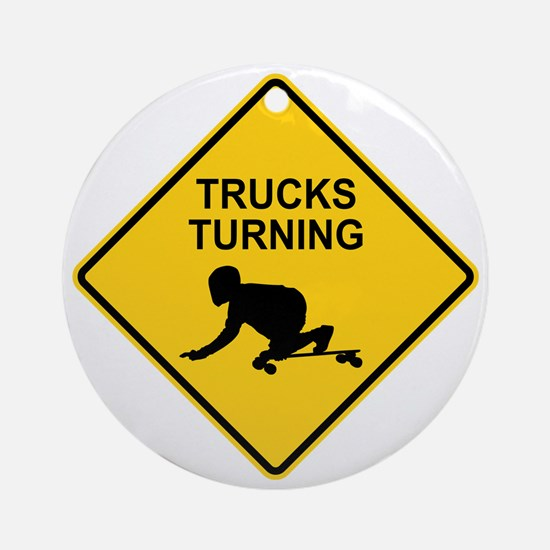 trucks_turning_2 Round Ornament