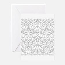 Grey damask pattern Greeting Cards