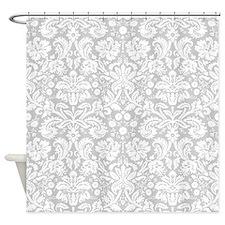 Grey damask pattern Shower Curtain