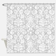 Grey damask pattern Shower Curtain