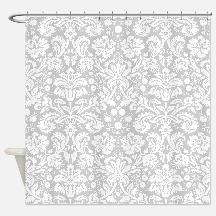Gray Damask Pattern Shower Curtains