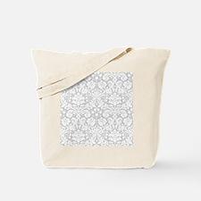 Grey damask pattern Tote Bag