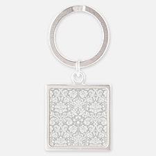 Grey damask pattern Keychains
