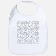 Grey damask pattern Bib