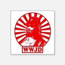 "WWJWD new red wht Square Sticker 3"" x 3"""