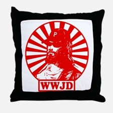 WWJWD new red wht Throw Pillow