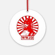 WWJWD new red wht Round Ornament