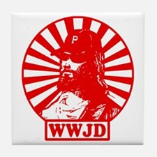 WWJWD new red wht Tile Coaster