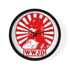 WWJWD new red wht Wall Clock