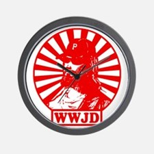 WWJWD new red wht Wall Clock