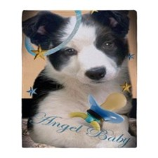 Border Collie Angel Baby Throw Blanket