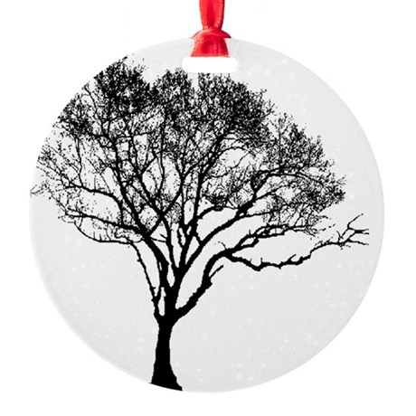 Black Tree Round Ornament