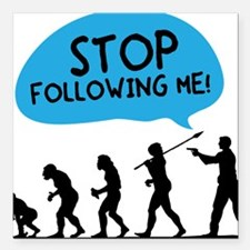 """2-Stop Following Me Square Car Magnet 3"""" x 3"""""""