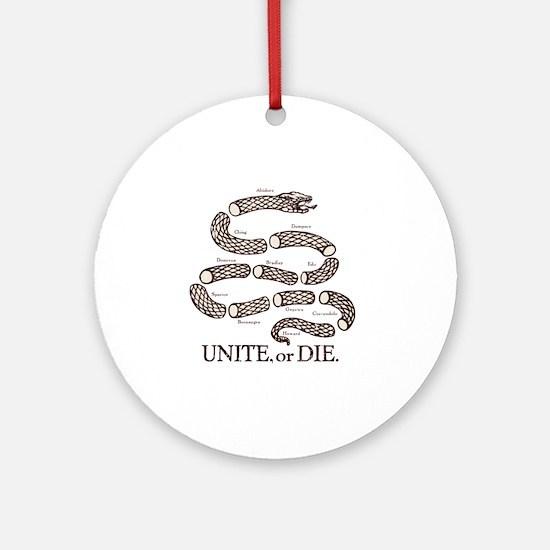 Unite_Or_Die__White_Shirt_Front Round Ornament