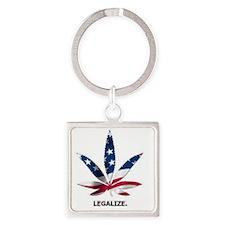 American Pot Leaf Square Keychain