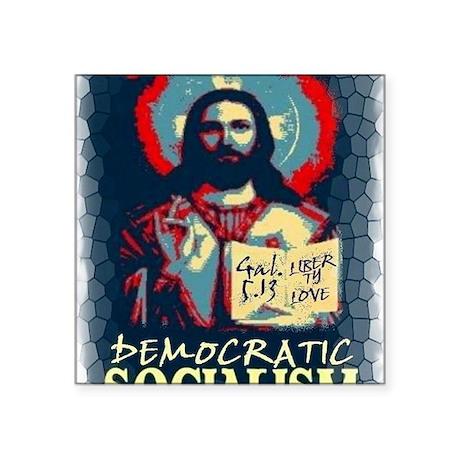 """Jesus dem soc LG Gal 513 st Square Sticker 3"""" x 3"""""""