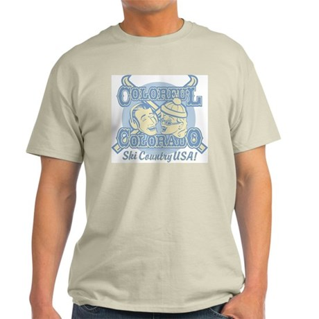 Ash Grey T-Shirt Colorful Colorado Ski Country US