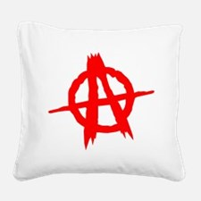 Anarchy Symbol Red Square Canvas Pillow